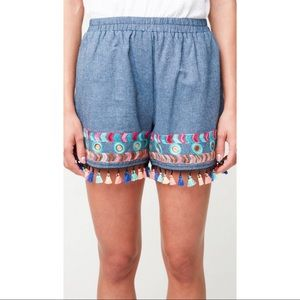 Embroidered Chambray Denim Shorts